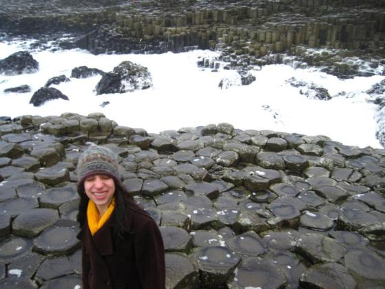 Looking goofy at the Giant's Causeway - very windy and rainy