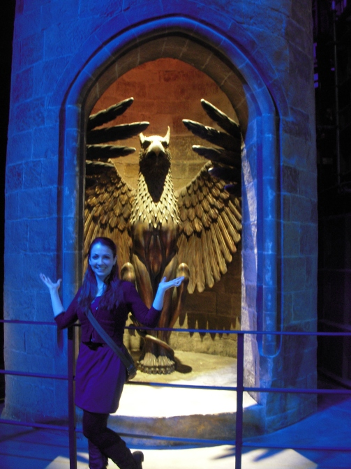 Posing with the sets of the Harry Potter films, London.