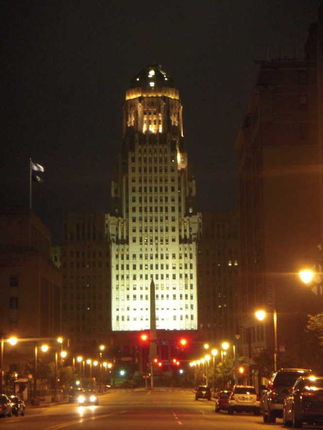 The City Hall building by night