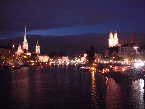 The downtown area of Zurich by night