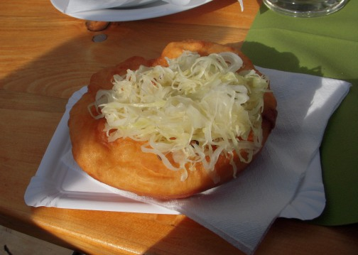 Fried dough and kraut deliciousness