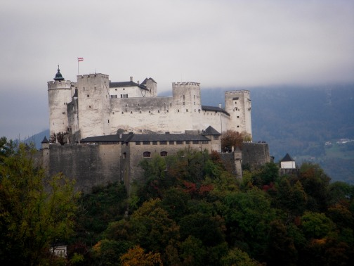 Hohensalzburg Fortress in the clouds