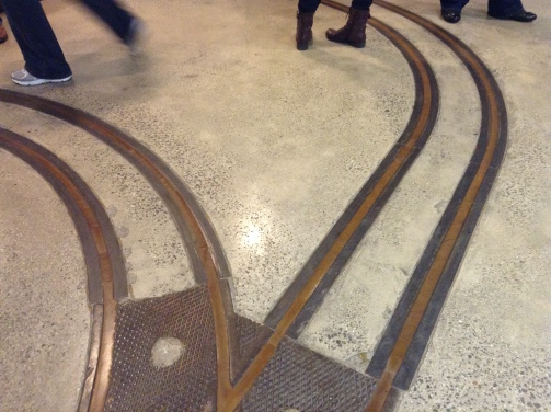 The track lines for carts carrying newsprint