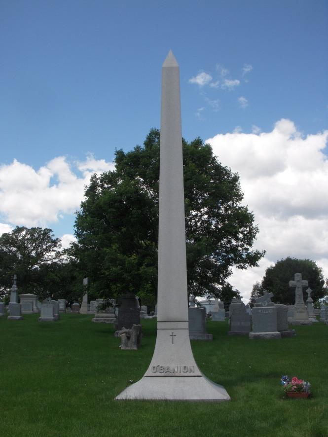 The grave marker for Dion O'Banion, North Side rival of Al Capone/