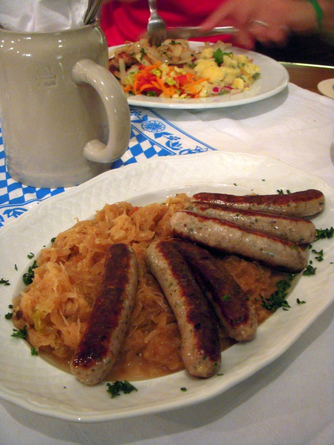 The amazing German food at the Augustiner Brau in Erfurt.
