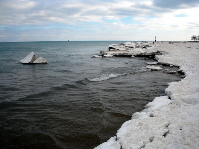 The frozen Chicago lakefront in January