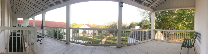 Panorama of the site from the 2nd floor balcony of the inn